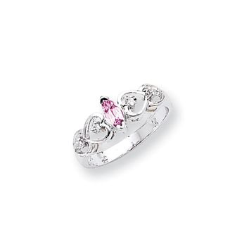 0.048 Ct  14k White Gold 6x3mm Marquise Pink Sapphire Diamond Ring I2 Clarity and I/J Color