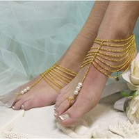 BF16 barefoot sandals-barefoot sandals, wedding shoes, anklets for women,barefoot sandal, footless sandles, beach wedding sandal, slave sandals, bridal barefoot sandals, wedding barefoot sandals,foot jewelry, pearl barefoot sandals, c