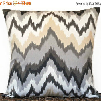 Black Friday Sale Ikat Chevron Pillow Cover Cushion Outdoor Indoor Black Gray Beige Designer Decorative 18x18