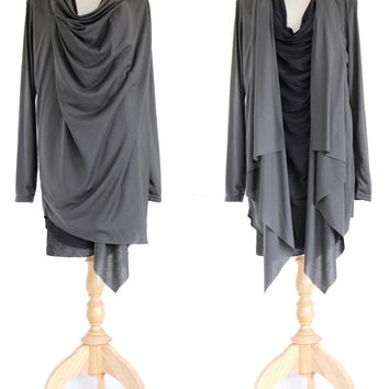 Women Drape Long Wrap Top - Charcoal Gray Tunic – Lagenlook Asymmetrical Layered Top Sweatshirt – Wrap Cardigan Grey Blouse - Light Jacket