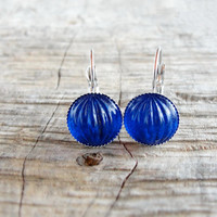 Glass Cabochon Earrings Cobalt Blue Red Green Retro Earrings
