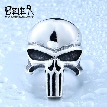 Beier new store 316L Stainless Steel men ring the Punisher skull ring punk biker fashion jewelry LLBR8-407R
