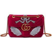 Gucci New Fashion Bag Velvet Women Shopping Flower Print Bag Shoulder Bag LOVE / MODERN Word Bag Feather Red