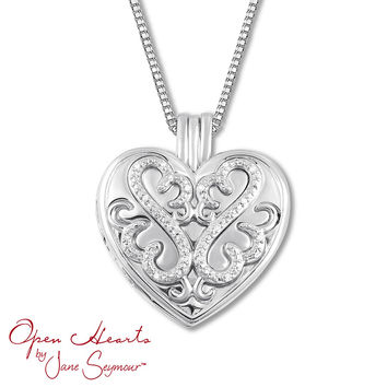 Open Hearts Locket Necklace Diamond Accents Sterling Silver