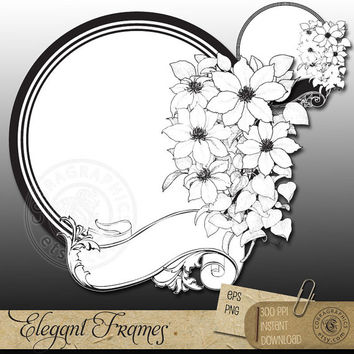 Elegant Frames Clip Art - EPS, PNG - digital stamps, labels, tags, photo frames, fabric transfers, scrapbooking clipart, cards - CV-005