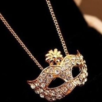 Masquerade Ball Mask Necklace (in Gold & Silver)