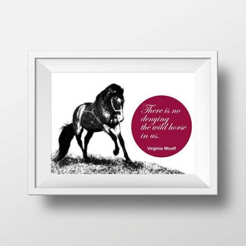 Typography print Quote Print Horse sketch Wall art Decor Poster Print