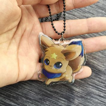 Pokemon Go cute eevee thicken acrylic necklace keychain id badge neck strap cosplay accessories Gift