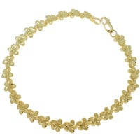 SOLID 14K YELLOW GOLD HAWAIIAN PLUMERIA FLOWER BRACELET 7MM 7.25""