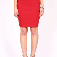 Solid Color Pencil Skirt