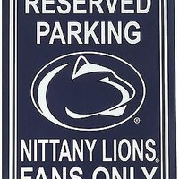 Penn State Nittany Lions RESERVED Lrg 12x18 Plastic Wall Parking Sign University