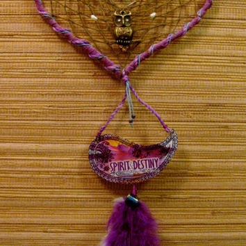 Dreamcatcher-Big Dreamcatcher-Natural Material-Recycled/Upcycled-Leather Dreamcatcher-Purple Dreamcatcher-Heart Dreamcatcher-Boho-Hippie-Owl