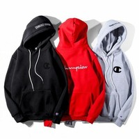 ONETOW Champion Fashion Embroidery Hooded Pullover Tops Sweater Sweatshirts Hoodie