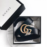 DCCK9 GUCCI Woman Men Fashion Smooth Buckle Leather Belt