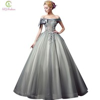 Banquet Evening Dress High-grade Boat Neck Luxury Grey Lace Appliques Aline Floor-length Party Gown Custom Prom Dress