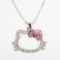 Hello Kitty Outline Necklace: Pink Bow
