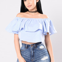 Wall Flower Top - Blue