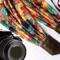 Floral scarf camera strap. DSLR Camera Strap. Camera accessories. Colorful camera strap for Canon, Nikon, Fuji & other cameras. Graet gift.
