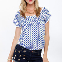 Abstract Tile Print Lace Contrast Top