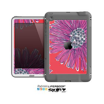 The Artistic Purple & Coral Floral Skin for the Apple iPad Mini LifeProof Case