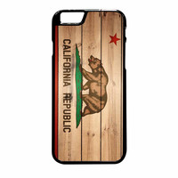 California Republic State Flag Wood Design iPhone 6 Plus Case