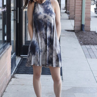 Tie Dye Swing Dress - Grey