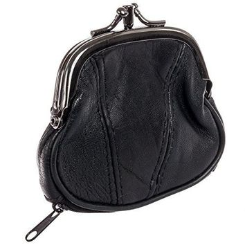 Marshal Womens Leather Kiss Lock Coin Purse Black