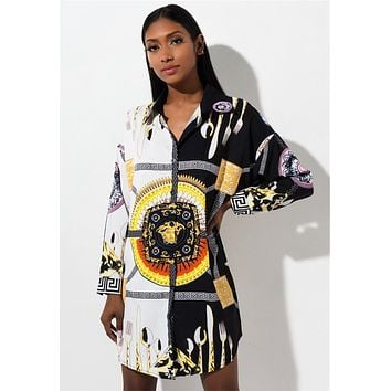 VERSACE Fashionable Women Casual Print Long Sleeve Lapel Shirt Dress
