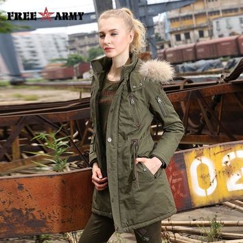 Trendy 2017 Winter Women Wadded Jacket Female Medium-Long Coat Fur Collar Thickening Hooded Military Womens Outerwear Down Parka GS-889 AT_94_13