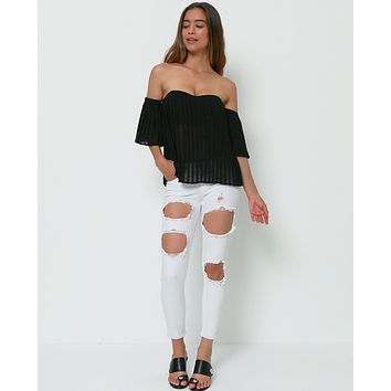 Truly Lovely Deeply Off-Shoulder Crop Top - Black