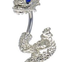 Blue Cubic Zirconia DETAILED DRAGON 2 piece split Belly button Navel Ring 14g 14 gauge