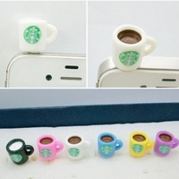 Dust Plug- Earphone Jack Accessories Lovely Starbucks White Coffee Cup Style/ Cell Charms / Ear Jack for Iphone 4 4s / Ipad / Ipod Touch / Other 3.5mm Ear Jack