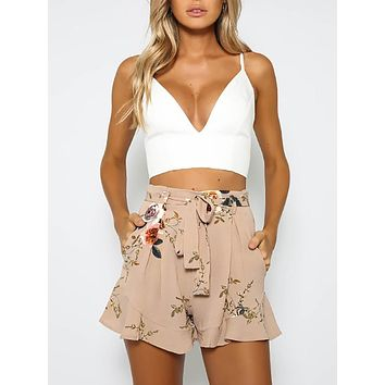 High Waist Boho Casual Polyester Floral print Beach Summer Shorts
