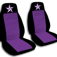 2 Front Black and Purple Nautical Star Seat Covers