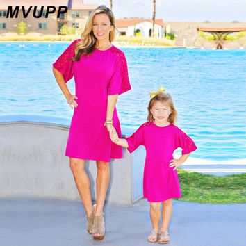 MVUPP family matching clothes mother daughter lace solid party dress pink solid mommy and me baby girl clthes summer beach