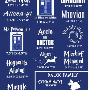 Harry Potter and Doctor Who Inspired Decals