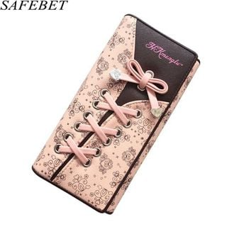 SAFEBET Brand 2017 New product Fashion Personality Printing High Quality PU Leather Women Wallet Purse Money Coin Card Holders
