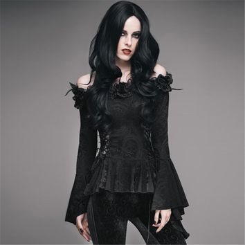 Gothic Women Black Lace Victorian Blouse Flare Sleeve Shirts Steampunk
