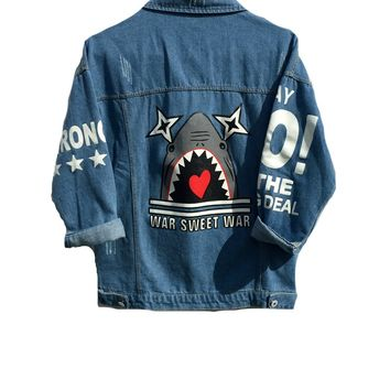 "Women's ""War Sweet War"" Shark Denim Jacket M"