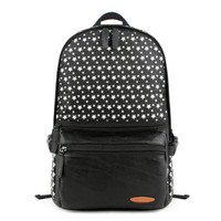 ZLYC Unisex Printed Stars Laptop School Backpack Contrast Leather Front Pocket