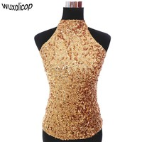 Sexy Night Club DJ Stage Costumes Halter Neck Sequin Party Top Vest Women's T-Shirt Shimmer Flashy Sleeveless Short Tank Tops