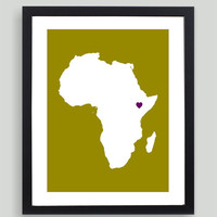 My Heart Resides In Africa Art Print - Any City, Town, Country or State Map Customized Silhouette Gift