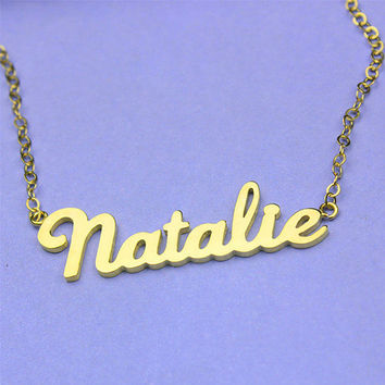Gold name necklace, personalized name necklace, name plate necklace, my name necklace, custom name necklace gold, handmade necklace, gift