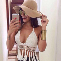 Cream Colored Knit Bikini with Fringe