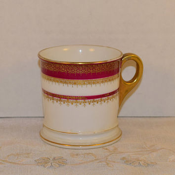 GDA Limoges Mug Vintage French China Red & Gold Trim Cup Victorian Shaving Mug Made in France Gilded Cup Burgundy Stripes Porcelain Cup