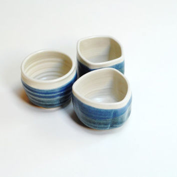 Geometric teacup,geometric pottery,teal clay mugs,stoneware yunomi,espresso pottery cup,trio of pottery cups,3 espresso cups,teal blue mugs,