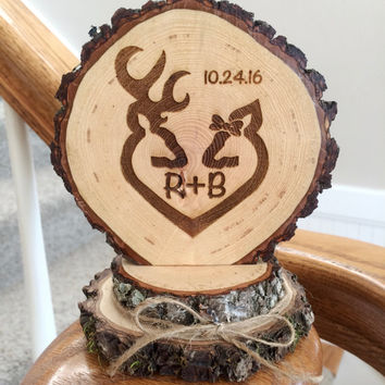 Rustic Deer Wedding Cake Topper, Engraved Wedding Cake Topper, Custom Topper, Buck Doe Topper, Barn Wedding, Country Wedding