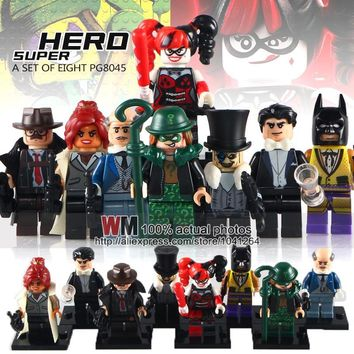 Batman Dark Knight gift Christmas 8pcs/lot PG8045 WM NEW DC Super Heroes Batman Joker Riddler Harley Quinn Babara Penguin Building Block Toys Children Gift AT_71_6