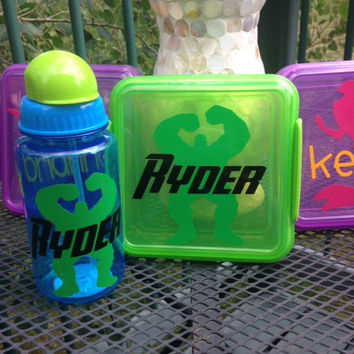 Personalized Lunch Box Set- Sandwich container and Drink Bottle- The Hulk