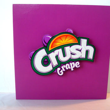 Grape Crush Soda Pop Wall Art - Game Room, Children's Room Decor - Unique Handmade Pop Culture Art